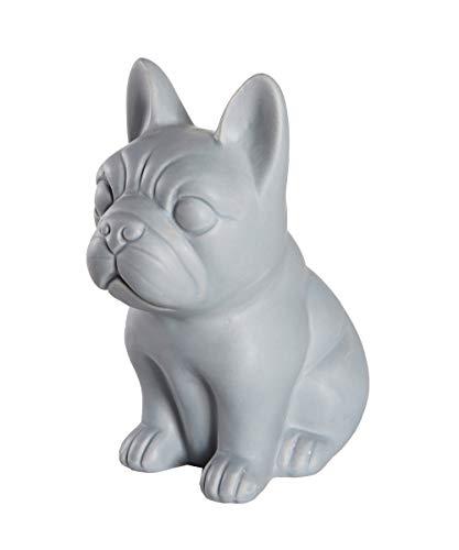 Nayothecorgi Ceramic Dog Statue - Sitting French Bulldog (Matte Dark Grey)