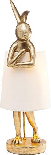 Kare Design Tischleuchte Animal Rabbit, Gold, schöne Tischlampe in Hasen Form, weißer Lampenschirm, edele Tischleuchte, (H/B/T) 68x23x23cm