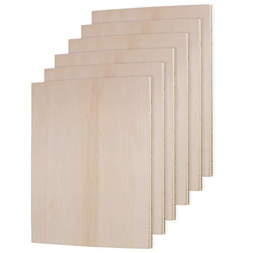 Belle Vous Placas de Madera sin Acabado Pack de 6-27 x 18 x 0,6cm Chapa Madera Rectángulo en Blanco - Maderas Contrachapado...