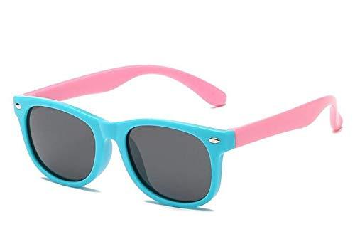 Boolavard TPEE Rubber Flexible Kids Polarisierte Sonnenbrille Alter 3-10 (Blau Rosa)