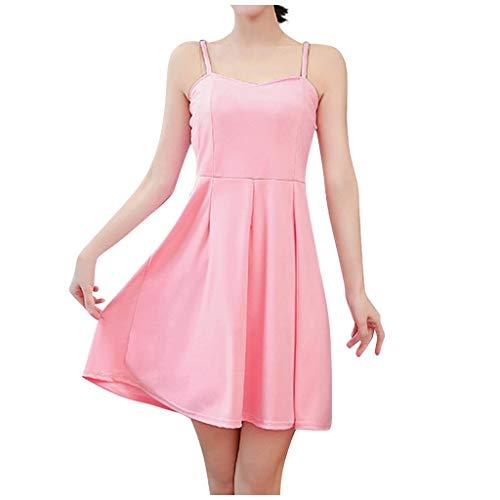 Damen Kleider, Frauen Tight Pure Color Lady Elegantes äRmelloses Unterhemd Casual Ballkleid Festkleid Frauen Wickelkleider Abendkleider Partykleid