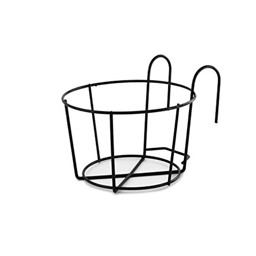 KEISL - Soporte de hierro para flores y balcones, para colgar en macetas, barandillas, barras decorativas, soporte de metal, estante expositor para balcón, decoración del hogar, negro, Large