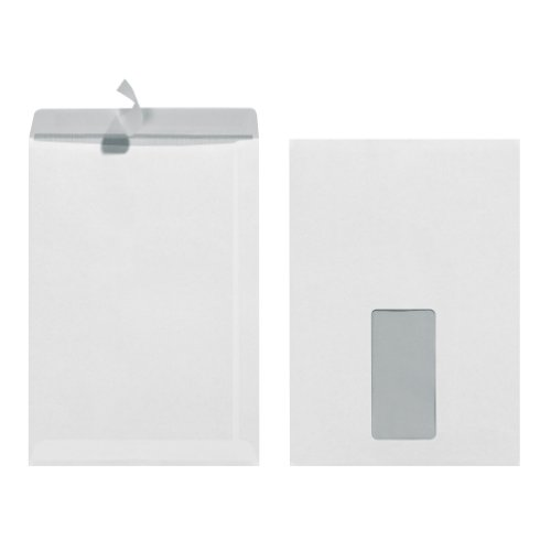 Herlitz Versandtasche C5 90 g Haftklebend mit Fenster, 25 Stück mit Innendruck in Folienpackung, eingeschweißt, weiß