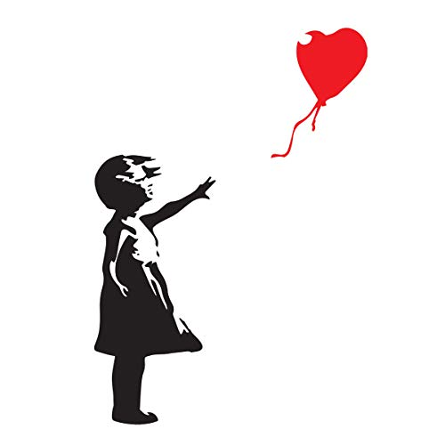 decorsfuk.co Banksy Girl with balloon | Wall art graffiti vinyl Sticker | Urban Art Window, Car, Laptop Decal (Small - 13x9cm)