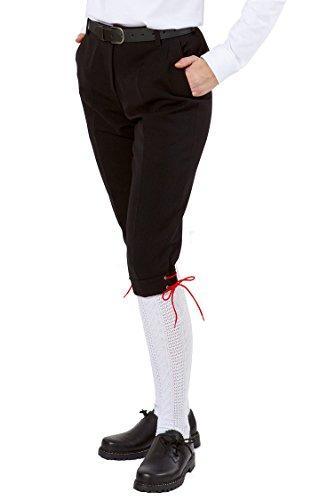 Fischerkleidung GmbH Damen-Kniebundhose schwarz aus Gewebe/Stoff, mit roter Kordel Size 52