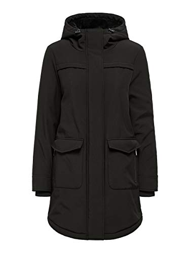ONLY Damen Softshelljacke OnlMaastricht Kurz-Mantel mit Kapuze 15192522 Black XXL