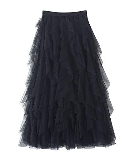 Mcaishen Falda Larga De Tul De Las Mujeres Vestido De Cintura Elástica Casual Falda Irregular De Tul Moda Salvaje Malla Fina Costura Irregular Sección Larga Falda De Cintura Alta(Black)