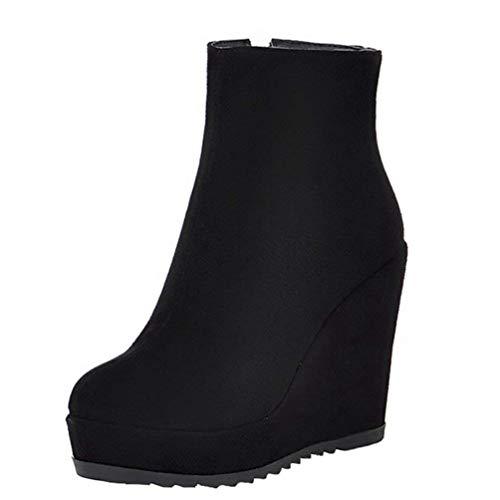 LUXMAX Damen High Heels Stiefeletten Keilabsatz Wedge Ankle Boots mit Reißverschluss Plateau Schuhe(Schwarz 38)