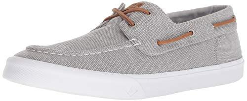 Sperry Mens Bahama II Boat Washed Sneaker, Grey, 10