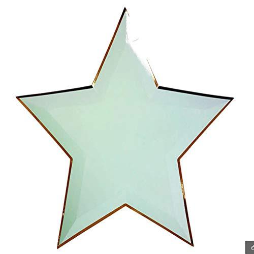 STARAYS Bandeja de Papel Desechable Vajilla Desechable para Eventos, Barbacoas, Banderolas de Decoración Platos de Papel Y Biodegradables Ideal para Fiestas de Cumpleaños, Bodas,Mint Green