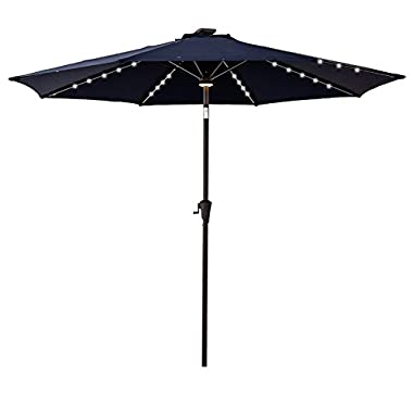 C-Hopetree 9 feet Round LED Lights Outdoor Patio Umbrella with Crank Winder, 8 Ribs, Auto Tilt, Navy Blue