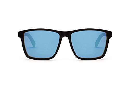 TAKE A SHOT Holz-Sonnenbrille Groß Herren Eckig Schwarz, UV400, Sonnenbrille Blau Verspiegelt Holz Herren Rechteckig KARLSSON