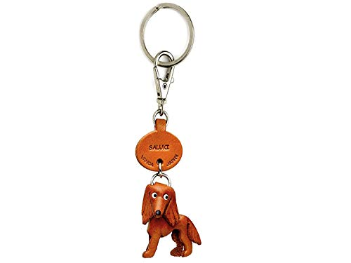 Saluki Leather Dog Small Keychain VANCA CRAFT-Collectible keyring Made in Japan