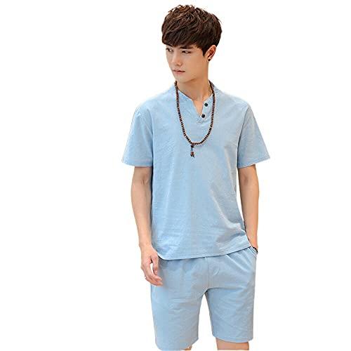 Conjunto de ropa de algodón y lino para hombre, conjunto de 2 piezas de manga corta camisetas y pantalones cortos con estilo casual