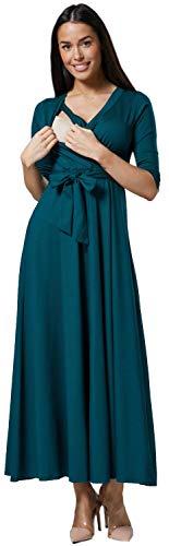 HAPPY MAMA. Para Mujer Vestido Largo premamá y de Lactancia 3/4 Mangas. 608p (Verde Oscuro, 44, 2XL)