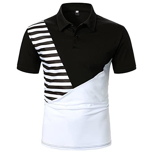 Polo para hombre, camisa de negocios, camisa de manga corta, cuello redondo, corte ajustado, elástico, monocolor, para verano, deporte, tenis, golf, cuello en V Negro_7. XXL