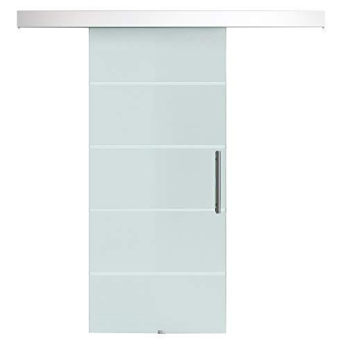 HOMCOM Porta Scorrevole Interna in Vetro Smerigliato e Satinato con Binario B1 e Maniglia per Bagno Cucina Studio Vetro 210x 75x 0,8cm