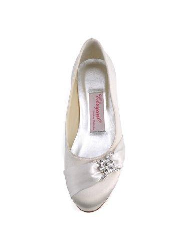 Bequeme flache Brautschuhe Ballerinas | Ivory - 4