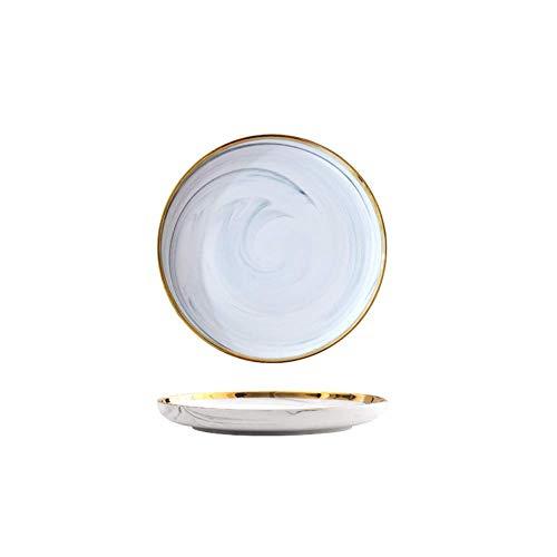 DSFHKUYB Juego de vajilla de cerámica con Borde Dorado, Platos y Platos de mármol de Estilo Europeo, Plato de Pastel de Porcelana, Bandeja de Fruta de pastelería, vajilla de cerámica,7.5 Inch