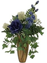 Memory Lane Memorials Roses, DELPHINIUMS, Bell Flower, Baby S Breath, Ivy for Crypt/Mausoleum Bouquet for Grave-site Presentation in Remembrance of Loved Ones NO VASE