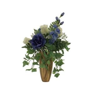 Roses, DELPHINIUMS, Bell Flower, Baby S Breath, Ivy for Crypt / Mausoleum Bouquet for Grave-site Presentation in Remembrance of Loved Ones NO VASE