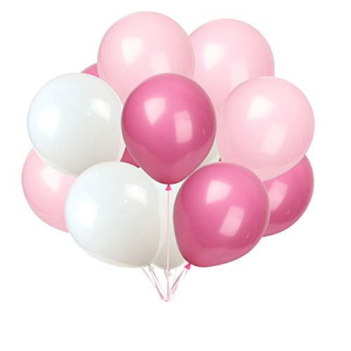 Latex balloon 100 pcs 12 inch : white and light pink and rose red latex balloons