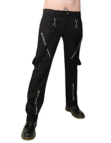 Black Pistol Herren Jeans Hose - Punk Pants Denim Schwarz 30