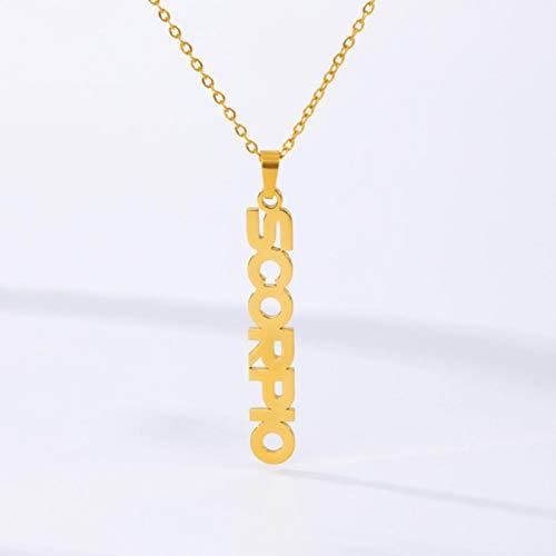 Collar del Zodiaco para Mujer, Colgante de Letras de Acero Inoxidable, Gargantilla, joyería de constelación, Collar de cáncer de Aries y Géminis
