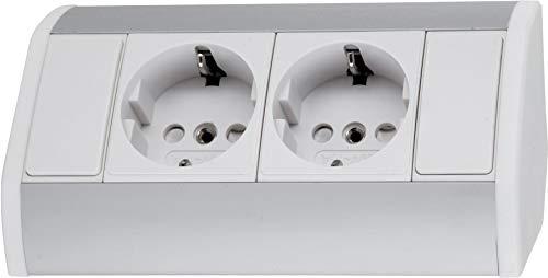 Opbouw aluminium stekkerdoos 2-voudig - horizontaal + verticaal - 230 V 3680 W - wit-zilver