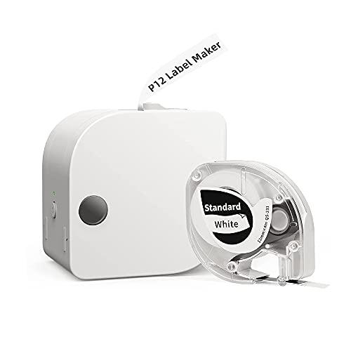 Phomemo P12 Etikettiergerät Bluetooth Etikettendrucker Beschriftungsgerät Selbstklebend Tragbarer Labeldrucker für Zuhause, Schule,Büro, Supermarkt, Datum, Name, Kompatibel mit Android & Ios,Weiß