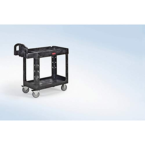 Rubbermaid Commercial Products Commercial Medium Lipped Shelf Heavy Utility Cart - Black