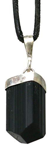 Turmalin Anhänger Rohstein, 2 bis 3 cm mit 925er Silberkappe, Schutzstein Schörl