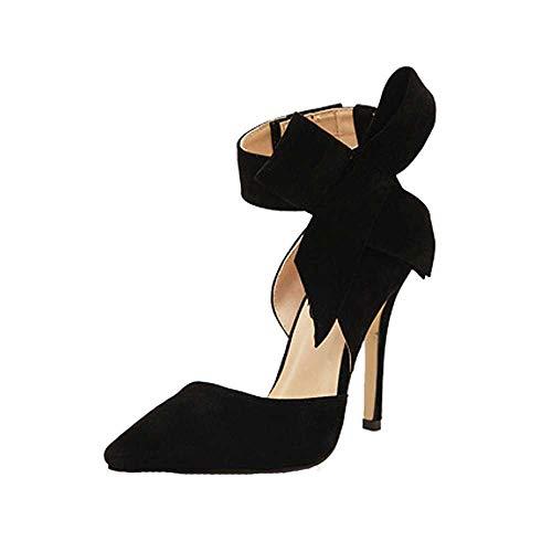 Huaya Damen Pumps Bogen Krawatte Mit Scharf Zehe Stilettos Plus Größe Schuhe