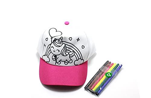 Boné Infantil Para Colorir e Brincar Com Kit Canetinhas Cor: Rosa