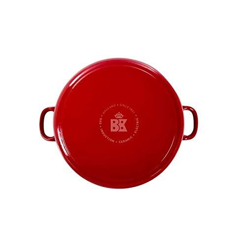 BK Cookware H6072.524 BK Bourgogne Cocotte en Fonte Ronde 24 cm/4.2L, Revêtement émaillé, Couvercle avec Anneaux pour Garder la Condensation, Four/Induction/Lave-Vaisselle, Rouge Chili