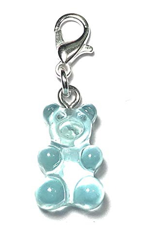 FizzyButton Gifts Very Pale Blue Translucent Gummy Bear Jelly Baby Zip Pull Tag Charm