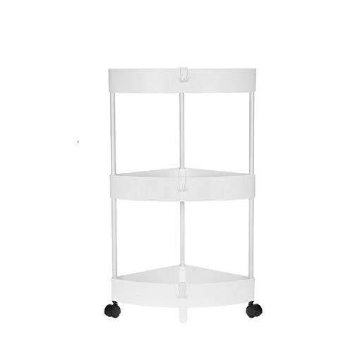 Carrito rodante de 3 niveles para estantes de esquina para la cocina, carrito de baño, estante de almacenamiento