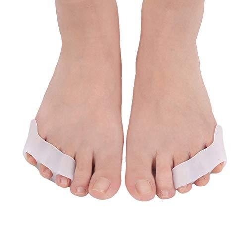 Separador de Dedos de Silicona Pie 3 Agujeros Dedo pequeño Varus Corretcor Cuidado de los pies Blanco