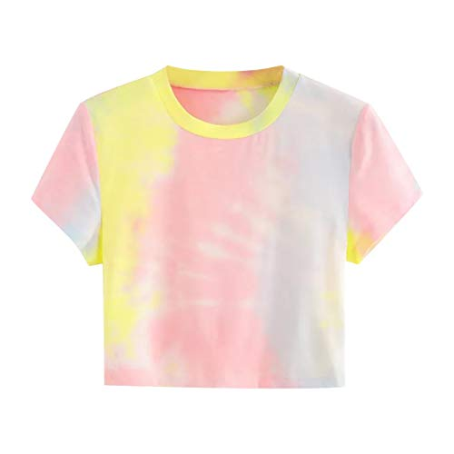 Best Bargain Toimothcn Women Crop Tops Casual O-Neck Tie-dye Tee Short Sleeve T-Shirt Blouse Top(Pin...