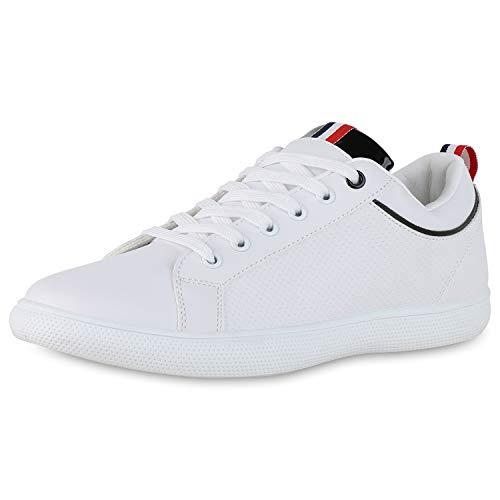 SCARPE VITA Herren Sneaker Low Turnschuhe Schnürer Lack Leder-Optik Schuhe Bequeme Freizeitschuhe 190764 Weiss Schwarz Black 45