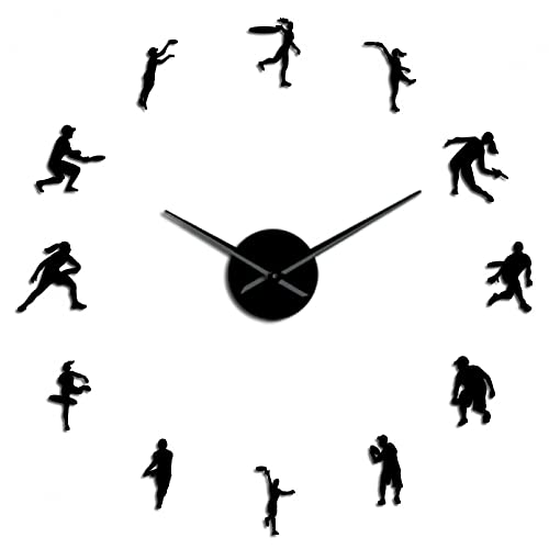 YQMJLF Reloj Pared DIY 3D Grande Jugadores Tenis Masculinos y Femeninos Reloj Pared Gigante DIY para Amantes del Tenis Arte Pared para Sala Estar sin Marco Efecto Espejo Reloj ModernoNegro