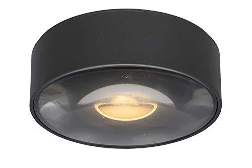 Lucide Rayen - Foco de techo para cuarto de baño, diámetro de 10 cm, LED, 1 x 6 W, 3000 K, IP65, color negro