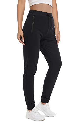 KEFITEVD Jogginghose Damen mit Reißverschluss-Taschen Baumwolle Jogger Stretch Sporthose Lang Modisch Gym Fitness Hose mit Tunnelzug Schwarz XL