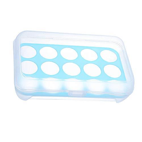 Gobesty Ei Houder Doos, 10 Cellen Eieren Opbergdoos Koelkast Eieren Opslag Container, 24 * 15 * 7cm Blauw