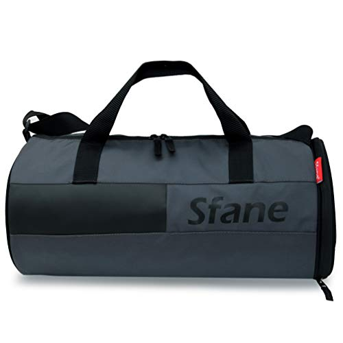 Sfane Men & Women Gray & Black Leather Duffel Gym Bag