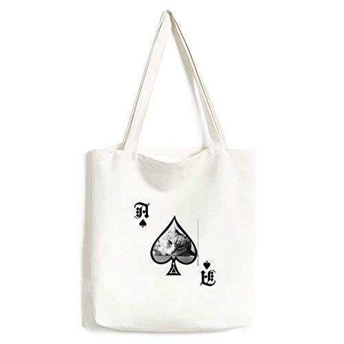 Animal Puur Grijs Kat Foto Handtas Craft Poker Spade Wasbare Tas