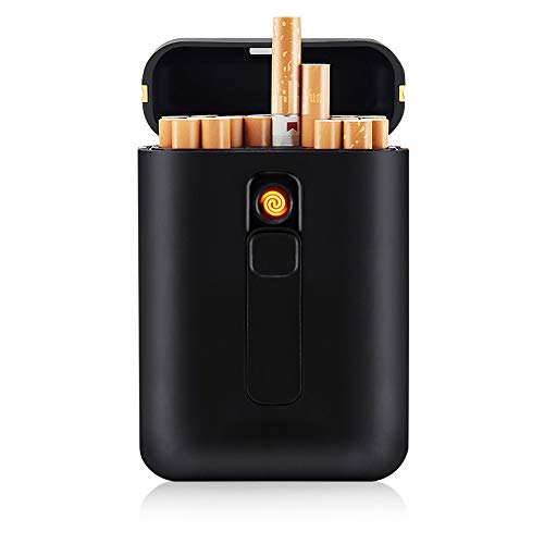 Cigarette Case with Lighter Cigarettes Box King Size Portable Pack 20pcs Regular Size Cigarettes USB Lighters 2 in 1 Rechargeable Flameless Windproof Electric Lighter(Black)