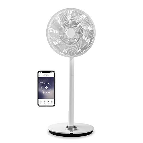 Duux Whisper Flex Smart Standventilator - Steuerung per Fernbedienung & Smartphone - Höhenverstellbar 51-88cm - Leiser Ventilator mit Nachtmodus und Timer - Energieeffizient 2W, Ohne Akku (Weiß)