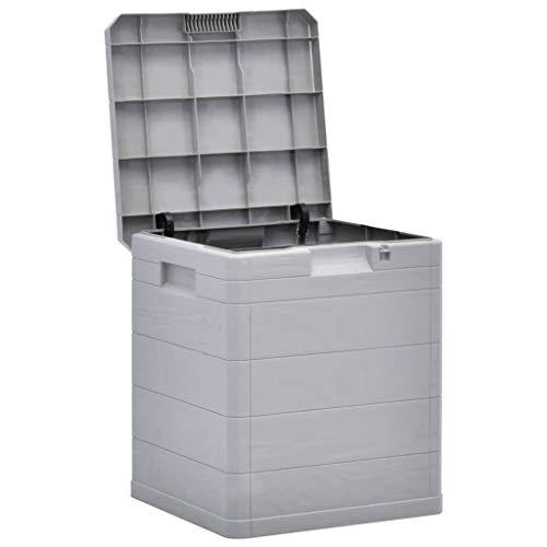 mewmewcat Garten-Aufbewahrungsbox 90 L für den Garten, kle Garten wetterfeste Outdoor-Aufbewahrungsbox Kunststoff 42,5 x 44 x 50 cm Hellgrau Geeignet für den Innen- und Außenbereich
