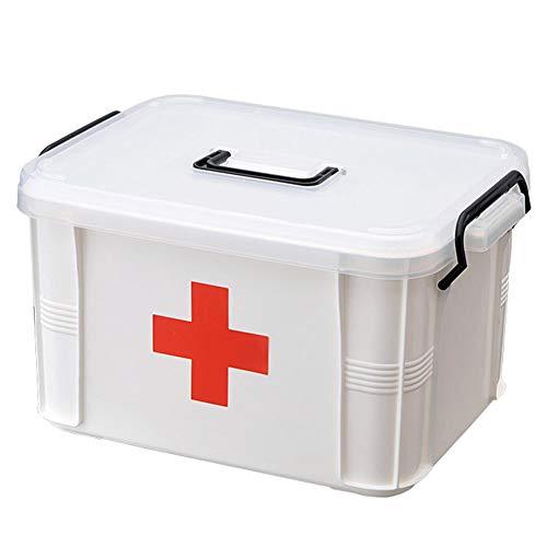 KUANPEY Caja de almacenamiento multiusos de primeros auxilios, kit de emergencia familiar, caja de almacenamiento portátil con bandeja extraíble desmontable para medicinas y herramientas médicas